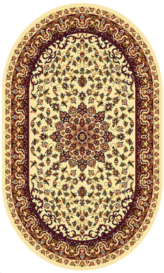 Ковер Kamalak tekstil, овальный, цвет: кремовый, 60 x 110 см. УК-0211УК-0211Ковры-паласы выполнены из полипропилена. Ковры обладают хорошими показателями теплостойкости и шумоизоляции. Являются гиппоалергенными. За счет невысокого ворса ковры легко чистить. Вам придется по душе широкая гамма цветов и возможность гармонично оформить интерьер. Практичный и устойчивый к износу ворс - от постоянного хождения не истирается, не накапливает статическое электричество. Структура волокна в полипропиленовых моделях гладкая, поэтому грязь не может выесться, на ворсе она скапливается с трудом. Полипропилен не впитывает влагу, отталкивает водянистые пятна. Уход: Самый простой способ избавить изделие от грязи – пропылесосить его с обеих сторон (лицевой и изнаночной).Влажная уборка с применением шампуней и моющих средств не противопоказана. Если шерсти и шёлку универсальные чистящие составы не подходят, то для синтетики они придутся в самый раз.Хранить их нужно рулоном, не складывая «салфеткой».При надлежащем уходе синтетический ковёр прослужит долго, не утратив ни яркости узора, ни блеска ворса, ни его упругости.
