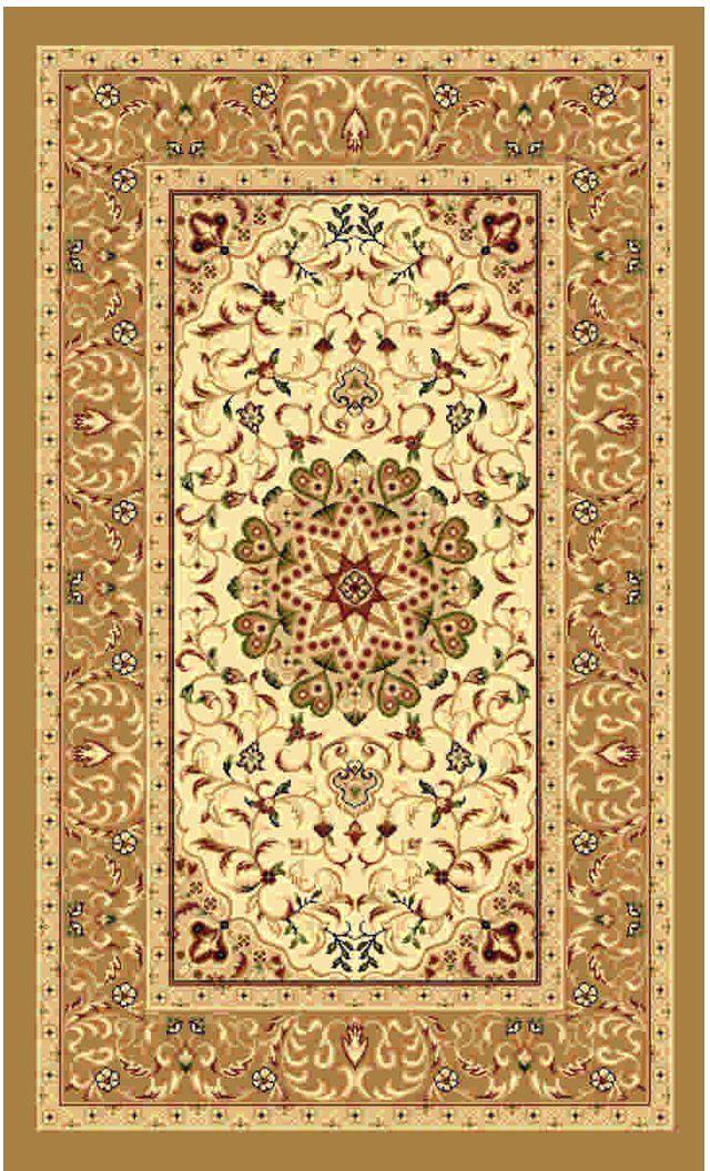 Ковер Kamalak tekstil, прямоугольный, цвет: кремовый, 80 x 150 см. УК-0381УК-0381Ковры-паласы выполнены из полипропилена. Ковры обладают хорошими показателями теплостойкости и шумоизоляции. Являются гиппоалергенными. За счет невысокого ворса ковры легко чистить. Вам придется по душе широкая гамма цветов и возможность гармонично оформить интерьер. Практичный и устойчивый к износу ворс - от постоянного хождения не истирается, не накапливает статическое электричество. Структура волокна в полипропиленовых моделях гладкая, поэтому грязь не может выесться, на ворсе она скапливается с трудом. Полипропилен не впитывает влагу, отталкивает водянистые пятна. Уход: Самый простой способ избавить изделие от грязи – пропылесосить его с обеих сторон (лицевой и изнаночной). Влажная уборка с применением шампуней и моющих средств не противопоказана. Если шерсти и шёлку универсальные чистящие составы не подходят, то для синтетики они придутся в самый раз. Хранить их нужно рулоном, не складывая «салфеткой». При надлежащем уходе синтетический ковёр прослужит долго, не утратив ни яркости узора, ни блеска ворса, ни его упругости.