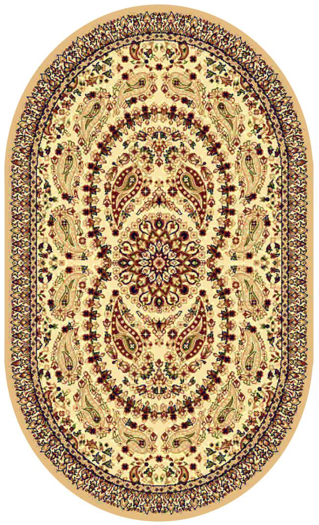 Ковер Kamalak tekstil, овальный, цвет: кремовый, 60 x 110 см. УК-0172УК-0172Ковры-паласы выполнены из полипропилена. Ковры обладают хорошими показателями теплостойкости и шумоизоляции. Являются гиппоалергенными. За счет невысокого ворса ковры легко чистить. Вам придется по душе широкая гамма цветов и возможность гармонично оформить интерьер. Практичный и устойчивый к износу ворс - от постоянного хождения не истирается, не накапливает статическое электричество. Структура волокна в полипропиленовых моделях гладкая, поэтому грязь не может выесться, на ворсе она скапливается с трудом. Полипропилен не впитывает влагу, отталкивает водянистые пятна. Уход: Самый простой способ избавить изделие от грязи – пропылесосить его с обеих сторон (лицевой и изнаночной). Влажная уборка с применением шампуней и моющих средств не противопоказана. Если шерсти и шёлку универсальные чистящие составы не подходят, то для синтетики они придутся в самый раз. Хранить их нужно рулоном, не складывая «салфеткой». При надлежащем уходе синтетический ковёр прослужит долго, не утратив ни яркости узора, ни блеска ворса, ни его упругости.