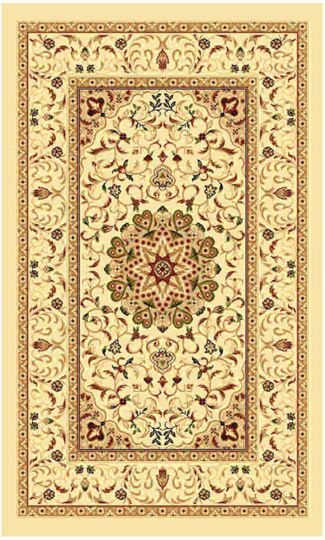 Ковер Kamalak tekstil, прямоугольный, цвет: кремовый, 80 x 150 см. УК-0375УК-0375Ковры-паласы выполнены из полипропилена. Ковры обладают хорошими показателями теплостойкости и шумоизоляции. Являются гиппоалергенными. За счет невысокого ворса ковры легко чистить. Вам придется по душе широкая гамма цветов и возможность гармонично оформить интерьер. Практичный и устойчивый к износу ворс - от постоянного хождения не истирается, не накапливает статическое электричество. Структура волокна в полипропиленовых моделях гладкая, поэтому грязь не может выесться, на ворсе она скапливается с трудом. Полипропилен не впитывает влагу, отталкивает водянистые пятна. Уход: Самый простой способ избавить изделие от грязи – пропылесосить его с обеих сторон (лицевой и изнаночной).Влажная уборка с применением шампуней и моющих средств не противопоказана. Если шерсти и шёлку универсальные чистящие составы не подходят, то для синтетики они придутся в самый раз.Хранить их нужно рулоном, не складывая «салфеткой».При надлежащем уходе синтетический ковёр прослужит долго, не утратив ни яркости узора, ни блеска ворса, ни его упругости.