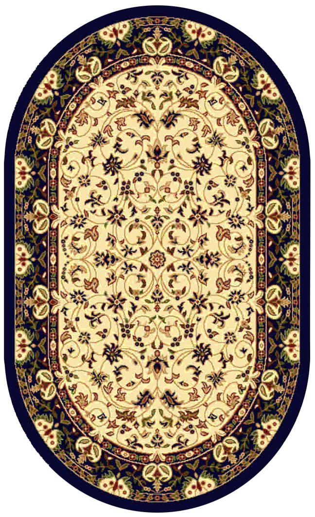 Ковер Kamalak tekstil, овальный, цвет: кремовый, 100 x 150 см. УК-0138УК-0138Ковры-паласы выполнены из полипропилена. Ковры обладают хорошими показателями теплостойкости и шумоизоляции. Являются гиппоалергенными. За счет невысокого ворса ковры легко чистить. Вам придется по душе широкая гамма цветов и возможность гармонично оформить интерьер. Практичный и устойчивый к износу ворс - от постоянного хождения не истирается, не накапливает статическое электричество. Структура волокна в полипропиленовых моделях гладкая, поэтому грязь не может выесться, на ворсе она скапливается с трудом. Полипропилен не впитывает влагу, отталкивает водянистые пятна. Уход: Самый простой способ избавить изделие от грязи – пропылесосить его с обеих сторон (лицевой и изнаночной).Влажная уборка с применением шампуней и моющих средств не противопоказана. Если шерсти и шёлку универсальные чистящие составы не подходят, то для синтетики они придутся в самый раз.Хранить их нужно рулоном, не складывая «салфеткой».При надлежащем уходе синтетический ковёр прослужит долго, не утратив ни яркости узора, ни блеска ворса, ни его упругости.