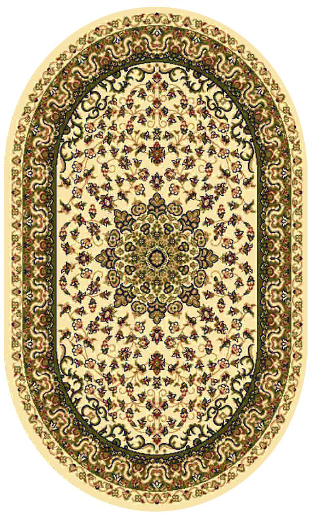 Ковер Kamalak tekstil, овальный, цвет: кремовый, 100 x 150 см. УК-0203УК-0203Ковры-паласы выполнены из полипропилена. Ковры обладают хорошими показателями теплостойкости и шумоизоляции. Являются гиппоалергенными. За счет невысокого ворса ковры легко чистить. Вам придется по душе широкая гамма цветов и возможность гармонично оформить интерьер. Практичный и устойчивый к износу ворс - от постоянного хождения не истирается, не накапливает статическое электричество. Структура волокна в полипропиленовых моделях гладкая, поэтому грязь не может выесться, на ворсе она скапливается с трудом. Полипропилен не впитывает влагу, отталкивает водянистые пятна. Уход: Самый простой способ избавить изделие от грязи – пропылесосить его с обеих сторон (лицевой и изнаночной).Влажная уборка с применением шампуней и моющих средств не противопоказана. Если шерсти и шёлку универсальные чистящие составы не подходят, то для синтетики они придутся в самый раз.Хранить их нужно рулоном, не складывая «салфеткой».При надлежащем уходе синтетический ковёр прослужит долго, не утратив ни яркости узора, ни блеска ворса, ни его упругости.