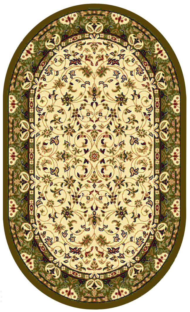 Ковер Kamalak tekstil, овальный, цвет: кремовый, 60 x 110 см. УК-0148УК-0148Ковры-паласы выполнены из полипропилена. Ковры обладают хорошими показателями теплостойкости и шумоизоляции. Являются гиппоалергенными. За счет невысокого ворса ковры легко чистить. Вам придется по душе широкая гамма цветов и возможность гармонично оформить интерьер. Практичный и устойчивый к износу ворс - от постоянного хождения не истирается, не накапливает статическое электричество. Структура волокна в полипропиленовых моделях гладкая, поэтому грязь не может выесться, на ворсе она скапливается с трудом. Полипропилен не впитывает влагу, отталкивает водянистые пятна. Уход: Самый простой способ избавить изделие от грязи – пропылесосить его с обеих сторон (лицевой и изнаночной). Влажная уборка с применением шампуней и моющих средств не противопоказана. Если шерсти и шёлку универсальные чистящие составы не подходят, то для синтетики они придутся в самый раз. Хранить их нужно рулоном, не складывая «салфеткой». При надлежащем уходе синтетический ковёр прослужит долго, не утратив ни яркости узора, ни блеска ворса, ни его упругости.