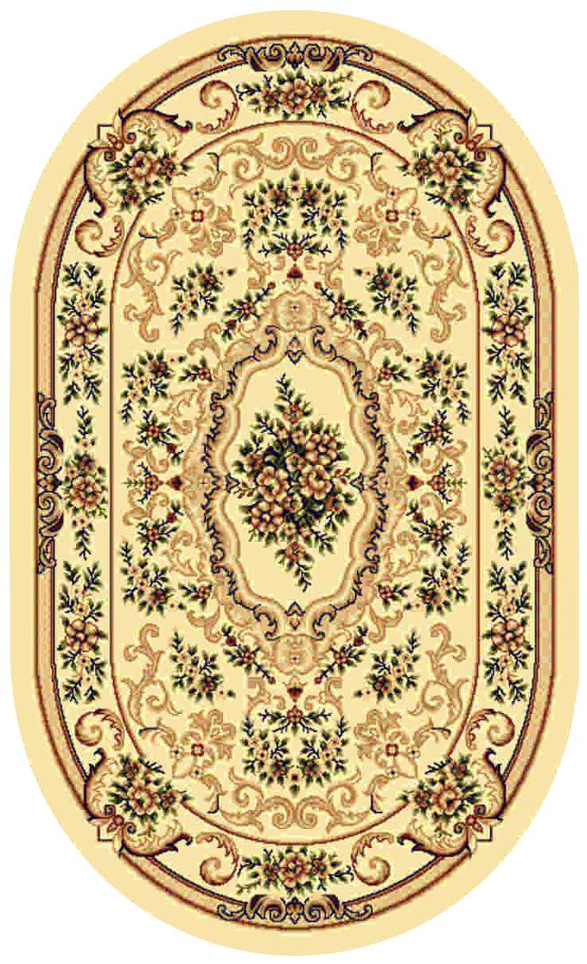 Ковер Kamalak tekstil, овальный, цвет: кремовый, 60 x 110 см. УК-0106УК-0106Ковры-паласы выполнены из полипропилена. Ковры обладают хорошими показателями теплостойкости и шумоизоляции. Являются гиппоалергенными. За счет невысокого ворса ковры легко чистить. Вам придется по душе широкая гамма цветов и возможность гармонично оформить интерьер. Практичный и устойчивый к износу ворс - от постоянного хождения не истирается, не накапливает статическое электричество. Структура волокна в полипропиленовых моделях гладкая, поэтому грязь не может выесться, на ворсе она скапливается с трудом. Полипропилен не впитывает влагу, отталкивает водянистые пятна. Уход: Самый простой способ избавить изделие от грязи – пропылесосить его с обеих сторон (лицевой и изнаночной). Влажная уборка с применением шампуней и моющих средств не противопоказана. Если шерсти и шёлку универсальные чистящие составы не подходят, то для синтетики они придутся в самый раз. Хранить их нужно рулоном, не складывая «салфеткой». При надлежащем уходе синтетический ковёр прослужит долго, не утратив ни яркости узора, ни блеска ворса, ни его упругости.