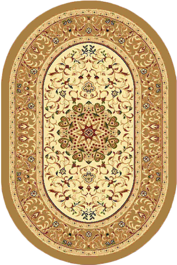 Ковер Kamalak tekstil, овальный, цвет: кремовый, 100 x 150 см. УК-0380УК-0380Ковры-паласы выполнены из полипропилена. Ковры обладают хорошими показателями теплостойкости и шумоизоляции. Являются гиппоалергенными. За счет невысокого ворса ковры легко чистить. Вам придется по душе широкая гамма цветов и возможность гармонично оформить интерьер. Практичный и устойчивый к износу ворс - от постоянного хождения не истирается, не накапливает статическое электричество. Структура волокна в полипропиленовых моделях гладкая, поэтому грязь не может выесться, на ворсе она скапливается с трудом. Полипропилен не впитывает влагу, отталкивает водянистые пятна. Уход: Самый простой способ избавить изделие от грязи – пропылесосить его с обеих сторон (лицевой и изнаночной).Влажная уборка с применением шампуней и моющих средств не противопоказана. Если шерсти и шёлку универсальные чистящие составы не подходят, то для синтетики они придутся в самый раз.Хранить их нужно рулоном, не складывая «салфеткой».При надлежащем уходе синтетический ковёр прослужит долго, не утратив ни яркости узора, ни блеска ворса, ни его упругости.