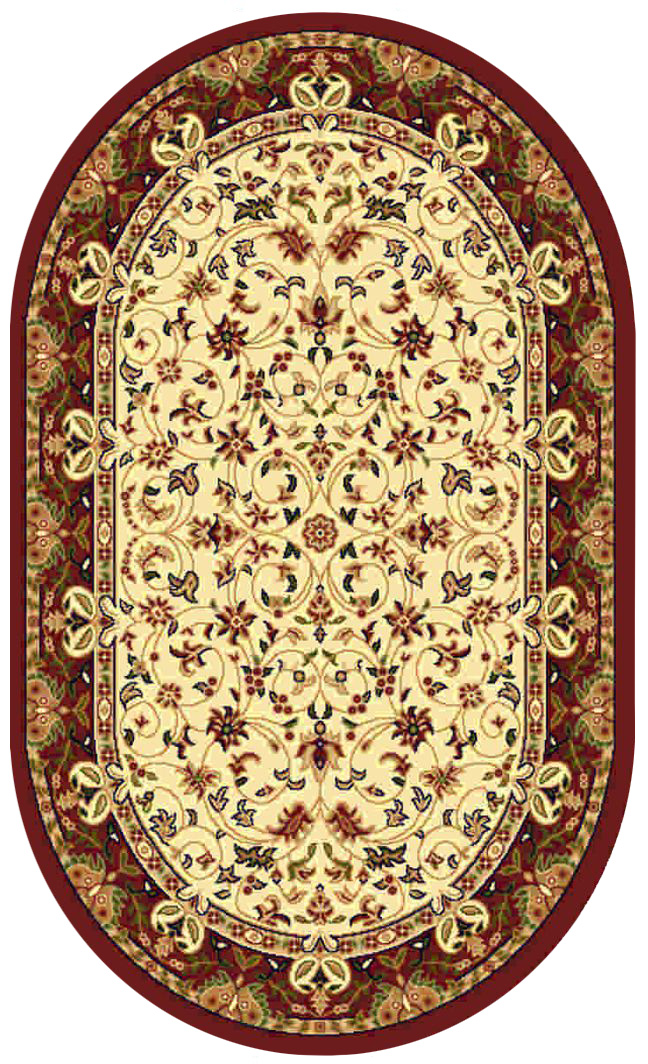 Ковер Kamalak tekstil, овальный, цвет: кремовый, 60 x 110 см. УК-0154УК-0154Ковры-паласы выполнены из полипропилена. Ковры обладают хорошими показателями теплостойкости и шумоизоляции. Являются гиппоалергенными. За счет невысокого ворса ковры легко чистить. Вам придется по душе широкая гамма цветов и возможность гармонично оформить интерьер. Практичный и устойчивый к износу ворс - от постоянного хождения не истирается, не накапливает статическое электричество. Структура волокна в полипропиленовых моделях гладкая, поэтому грязь не может выесться, на ворсе она скапливается с трудом. Полипропилен не впитывает влагу, отталкивает водянистые пятна. Уход: Самый простой способ избавить изделие от грязи – пропылесосить его с обеих сторон (лицевой и изнаночной).Влажная уборка с применением шампуней и моющих средств не противопоказана. Если шерсти и шёлку универсальные чистящие составы не подходят, то для синтетики они придутся в самый раз.Хранить их нужно рулоном, не складывая «салфеткой».При надлежащем уходе синтетический ковёр прослужит долго, не утратив ни яркости узора, ни блеска ворса, ни его упругости.