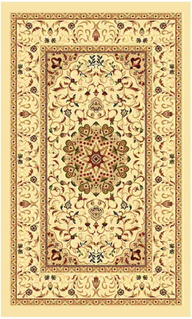 Ковер Kamalak tekstil, прямоугольный, цвет: кремовый, 50 x 100 см. УК-0509УК-0509Ковры-паласы выполнены из полипропилена. Ковры обладают хорошими показателями теплостойкости и шумоизоляции. Являются гиппоалергенными. За счет невысокого ворса ковры легко чистить. Вам придется по душе широкая гамма цветов и возможность гармонично оформить интерьер. Практичный и устойчивый к износу ворс - от постоянного хождения не истирается, не накапливает статическое электричество. Структура волокна в полипропиленовых моделях гладкая, поэтому грязь не может выесться, на ворсе она скапливается с трудом. Полипропилен не впитывает влагу, отталкивает водянистые пятна. Уход: Самый простой способ избавить изделие от грязи – пропылесосить его с обеих сторон (лицевой и изнаночной).Влажная уборка с применением шампуней и моющих средств не противопоказана. Если шерсти и шёлку универсальные чистящие составы не подходят, то для синтетики они придутся в самый раз.Хранить их нужно рулоном, не складывая «салфеткой».При надлежащем уходе синтетический ковёр прослужит долго, не утратив ни яркости узора, ни блеска ворса, ни его упругости.