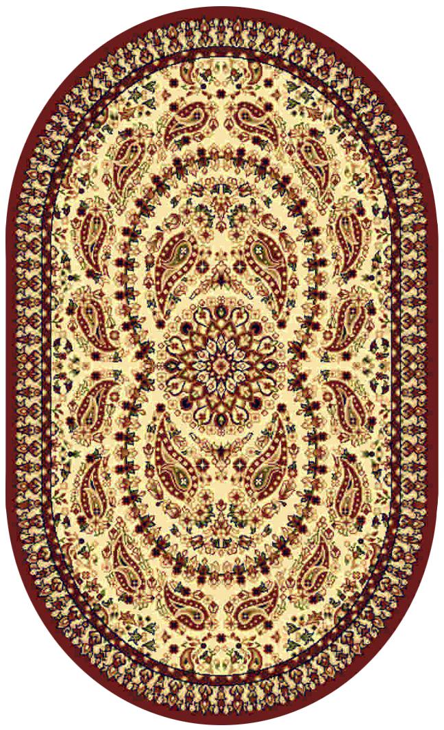 Ковер Kamalak tekstil, овальный, цвет: кремовый, 60 x 110 см. УК-0190УК-0190Ковры-паласы выполнены из полипропилена. Ковры обладают хорошими показателями теплостойкости и шумоизоляции. Являются гиппоалергенными. За счет невысокого ворса ковры легко чистить. Вам придется по душе широкая гамма цветов и возможность гармонично оформить интерьер. Практичный и устойчивый к износу ворс - от постоянного хождения не истирается, не накапливает статическое электричество. Структура волокна в полипропиленовых моделях гладкая, поэтому грязь не может выесться, на ворсе она скапливается с трудом. Полипропилен не впитывает влагу, отталкивает водянистые пятна. Уход: Самый простой способ избавить изделие от грязи – пропылесосить его с обеих сторон (лицевой и изнаночной).Влажная уборка с применением шампуней и моющих средств не противопоказана. Если шерсти и шёлку универсальные чистящие составы не подходят, то для синтетики они придутся в самый раз.Хранить их нужно рулоном, не складывая «салфеткой».При надлежащем уходе синтетический ковёр прослужит долго, не утратив ни яркости узора, ни блеска ворса, ни его упругости.