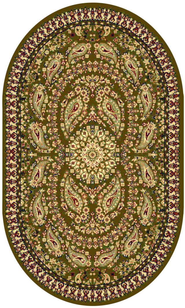 Ковер Kamalak Tekstil, овальный, цвет: зеленый, 60 x 110 см. УК-0184