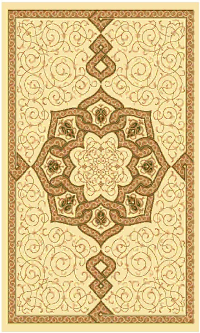 Ковер Kamalak tekstil, прямоугольный, цвет: кремовый, 50 x 100 см. УК-0456УК-0456Ковры-паласы выполнены из полипропилена. Ковры обладают хорошими показателями теплостойкости и шумоизоляции. Являются гиппоалергенными. За счет невысокого ворса ковры легко чистить. Вам придется по душе широкая гамма цветов и возможность гармонично оформить интерьер. Практичный и устойчивый к износу ворс - от постоянного хождения не истирается, не накапливает статическое электричество. Структура волокна в полипропиленовых моделях гладкая, поэтому грязь не может выесться, на ворсе она скапливается с трудом. Полипропилен не впитывает влагу, отталкивает водянистые пятна. Уход: Самый простой способ избавить изделие от грязи – пропылесосить его с обеих сторон (лицевой и изнаночной). Влажная уборка с применением шампуней и моющих средств не противопоказана. Если шерсти и шёлку универсальные чистящие составы не подходят, то для синтетики они придутся в самый раз. Хранить их нужно рулоном, не складывая «салфеткой». При надлежащем уходе синтетический ковёр прослужит долго, не утратив ни яркости узора, ни блеска ворса, ни его упругости.