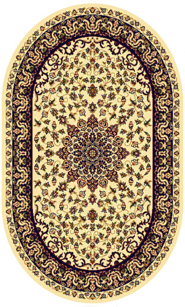 Ковер Kamalak tekstil, овальный, цвет: кремовый, 60 x 110 см. УК-0196УК-0196Ковры-паласы выполнены из полипропилена. Ковры обладают хорошими показателями теплостойкости и шумоизоляции. Являются гиппоалергенными. За счет невысокого ворса ковры легко чистить. Вам придется по душе широкая гамма цветов и возможность гармонично оформить интерьер. Практичный и устойчивый к износу ворс - от постоянного хождения не истирается, не накапливает статическое электричество. Структура волокна в полипропиленовых моделях гладкая, поэтому грязь не может выесться, на ворсе она скапливается с трудом. Полипропилен не впитывает влагу, отталкивает водянистые пятна. Уход: Самый простой способ избавить изделие от грязи – пропылесосить его с обеих сторон (лицевой и изнаночной).Влажная уборка с применением шампуней и моющих средств не противопоказана. Если шерсти и шёлку универсальные чистящие составы не подходят, то для синтетики они придутся в самый раз.Хранить их нужно рулоном, не складывая «салфеткой».При надлежащем уходе синтетический ковёр прослужит долго, не утратив ни яркости узора, ни блеска ворса, ни его упругости.