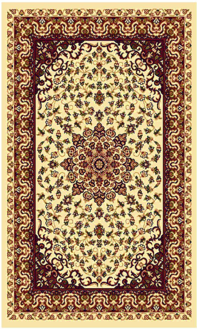 Ковер Kamalak tekstil, прямоугольный, цвет: кремовый, 80 x 150 см. УК-0209УК-0209Ковры-паласы выполнены из полипропилена. Ковры обладают хорошими показателями теплостойкости и шумоизоляции. Являются гиппоалергенными. За счет невысокого ворса ковры легко чистить. Вам придется по душе широкая гамма цветов и возможность гармонично оформить интерьер. Практичный и устойчивый к износу ворс - от постоянного хождения не истирается, не накапливает статическое электричество. Структура волокна в полипропиленовых моделях гладкая, поэтому грязь не может выесться, на ворсе она скапливается с трудом. Полипропилен не впитывает влагу, отталкивает водянистые пятна. Уход: Самый простой способ избавить изделие от грязи – пропылесосить его с обеих сторон (лицевой и изнаночной).Влажная уборка с применением шампуней и моющих средств не противопоказана. Если шерсти и шёлку универсальные чистящие составы не подходят, то для синтетики они придутся в самый раз.Хранить их нужно рулоном, не складывая «салфеткой».При надлежащем уходе синтетический ковёр прослужит долго, не утратив ни яркости узора, ни блеска ворса, ни его упругости.