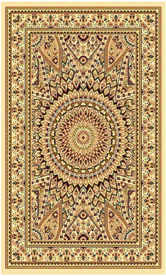 Ковер Kamalak tekstil, прямоугольный, цвет: кремовый, 60 x 110 см. УК-0250УК-0250Ковры-паласы выполнены из полипропилена. Ковры обладают хорошими показателями теплостойкости и шумоизоляции. Являются гиппоалергенными. За счет невысокого ворса ковры легко чистить. Вам придется по душе широкая гамма цветов и возможность гармонично оформить интерьер. Практичный и устойчивый к износу ворс - от постоянного хождения не истирается, не накапливает статическое электричество. Структура волокна в полипропиленовых моделях гладкая, поэтому грязь не может выесться, на ворсе она скапливается с трудом. Полипропилен не впитывает влагу, отталкивает водянистые пятна. Уход: Самый простой способ избавить изделие от грязи – пропылесосить его с обеих сторон (лицевой и изнаночной). Влажная уборка с применением шампуней и моющих средств не противопоказана. Если шерсти и шёлку универсальные чистящие составы не подходят, то для синтетики они придутся в самый раз. Хранить их нужно рулоном, не складывая «салфеткой». При надлежащем уходе синтетический ковёр прослужит долго, не утратив ни яркости узора, ни блеска ворса, ни его упругости.