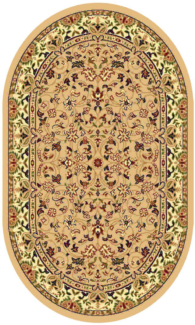 Ковер Kamalak tekstil, овальный, цвет: бежевый, 60 x 110 см. УК-0160УК-0160Ковры-паласы выполнены из полипропилена. Ковры обладают хорошими показателями теплостойкости и шумоизоляции. Являются гиппоалергенными. За счет невысокого ворса ковры легко чистить. Вам придется по душе широкая гамма цветов и возможность гармонично оформить интерьер. Практичный и устойчивый к износу ворс - от постоянного хождения не истирается, не накапливает статическое электричество. Структура волокна в полипропиленовых моделях гладкая, поэтому грязь не может выесться, на ворсе она скапливается с трудом. Полипропилен не впитывает влагу, отталкивает водянистые пятна. Уход: Самый простой способ избавить изделие от грязи – пропылесосить его с обеих сторон (лицевой и изнаночной). Влажная уборка с применением шампуней и моющих средств не противопоказана. Если шерсти и шёлку универсальные чистящие составы не подходят, то для синтетики они придутся в самый раз. Хранить их нужно рулоном, не складывая «салфеткой». При надлежащем уходе синтетический ковёр прослужит долго, не утратив ни яркости узора, ни блеска ворса, ни его упругости.
