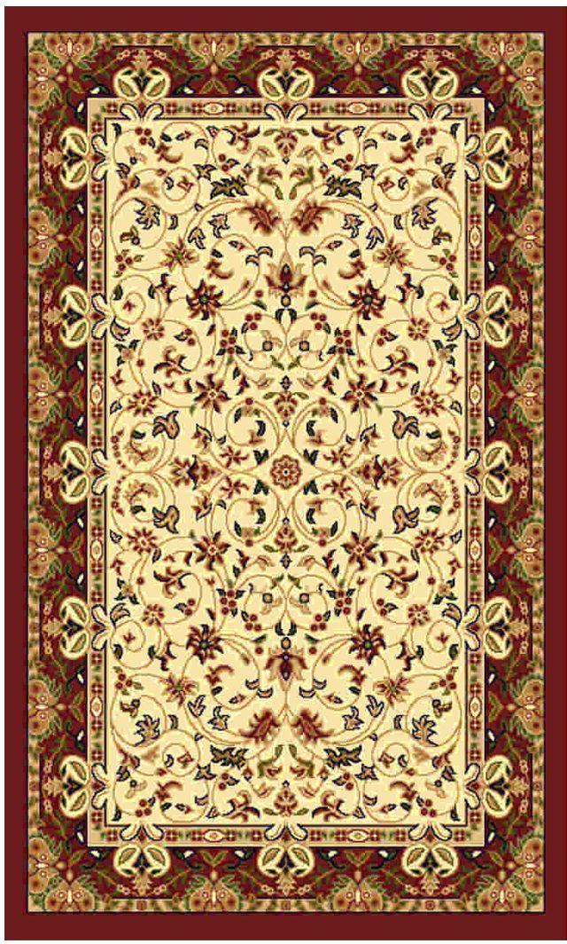 Ковер Kamalak tekstil, прямоугольный, цвет: кремовый, 100 x 150 см. УК-0149УК-0149Ковры-паласы выполнены из полипропилена. Ковры обладают хорошими показателями теплостойкости и шумоизоляции. Являются гиппоалергенными. За счет невысокого ворса ковры легко чистить. Вам придется по душе широкая гамма цветов и возможность гармонично оформить интерьер. Практичный и устойчивый к износу ворс - от постоянного хождения не истирается, не накапливает статическое электричество. Структура волокна в полипропиленовых моделях гладкая, поэтому грязь не может выесться, на ворсе она скапливается с трудом. Полипропилен не впитывает влагу, отталкивает водянистые пятна. Уход: Самый простой способ избавить изделие от грязи – пропылесосить его с обеих сторон (лицевой и изнаночной). Влажная уборка с применением шампуней и моющих средств не противопоказана. Если шерсти и шёлку универсальные чистящие составы не подходят, то для синтетики они придутся в самый раз. Хранить их нужно рулоном, не складывая «салфеткой». При надлежащем уходе синтетический ковёр прослужит долго, не утратив ни яркости узора, ни блеска ворса, ни его упругости.