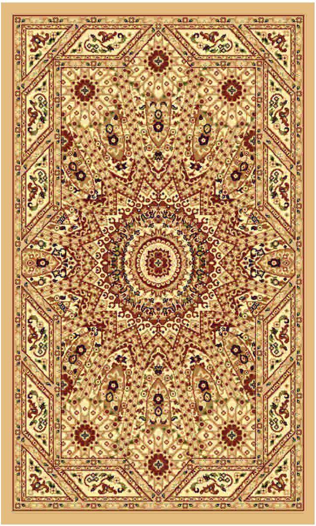 Ковер Kamalak tekstil, прямоугольный, цвет: бежевый, 60 x 110 см. УК-0234УК-0234Ковры-паласы выполнены из полипропилена. Ковры обладают хорошими показателями теплостойкости и шумоизоляции. Являются гиппоалергенными. За счет невысокого ворса ковры легко чистить. Вам придется по душе широкая гамма цветов и возможность гармонично оформить интерьер. Практичный и устойчивый к износу ворс - от постоянного хождения не истирается, не накапливает статическое электричество. Структура волокна в полипропиленовых моделях гладкая, поэтому грязь не может выесться, на ворсе она скапливается с трудом. Полипропилен не впитывает влагу, отталкивает водянистые пятна. Уход: Самый простой способ избавить изделие от грязи – пропылесосить его с обеих сторон (лицевой и изнаночной).Влажная уборка с применением шампуней и моющих средств не противопоказана. Если шерсти и шёлку универсальные чистящие составы не подходят, то для синтетики они придутся в самый раз.Хранить их нужно рулоном, не складывая «салфеткой».При надлежащем уходе синтетический ковёр прослужит долго, не утратив ни яркости узора, ни блеска ворса, ни его упругости.