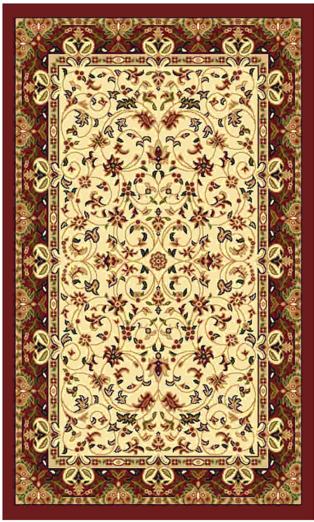Ковер Kamalak tekstil, прямоугольный, цвет: кремовый, 80 x 150 см. УК-0151УК-0151Ковры-паласы выполнены из полипропилена. Ковры обладают хорошими показателями теплостойкости и шумоизоляции. Являются гиппоалергенными. За счет невысокого ворса ковры легко чистить. Вам придется по душе широкая гамма цветов и возможность гармонично оформить интерьер. Практичный и устойчивый к износу ворс - от постоянного хождения не истирается, не накапливает статическое электричество. Структура волокна в полипропиленовых моделях гладкая, поэтому грязь не может выесться, на ворсе она скапливается с трудом. Полипропилен не впитывает влагу, отталкивает водянистые пятна. Уход: Самый простой способ избавить изделие от грязи – пропылесосить его с обеих сторон (лицевой и изнаночной). Влажная уборка с применением шампуней и моющих средств не противопоказана. Если шерсти и шёлку универсальные чистящие составы не подходят, то для синтетики они придутся в самый раз. Хранить их нужно рулоном, не складывая «салфеткой». При надлежащем уходе синтетический ковёр прослужит долго, не утратив ни яркости узора, ни блеска ворса, ни его упругости.