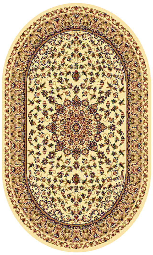 Ковер Kamalak tekstil, овальный, цвет: кремовый, 60 x 110 см. УК-0201УК-0201Ковры-паласы выполнены из полипропилена. Ковры обладают хорошими показателями теплостойкости и шумоизоляции. Являются гиппоалергенными. За счет невысокого ворса ковры легко чистить. Вам придется по душе широкая гамма цветов и возможность гармонично оформить интерьер. Практичный и устойчивый к износу ворс - от постоянного хождения не истирается, не накапливает статическое электричество. Структура волокна в полипропиленовых моделях гладкая, поэтому грязь не может выесться, на ворсе она скапливается с трудом. Полипропилен не впитывает влагу, отталкивает водянистые пятна. Уход: Самый простой способ избавить изделие от грязи – пропылесосить его с обеих сторон (лицевой и изнаночной). Влажная уборка с применением шампуней и моющих средств не противопоказана. Если шерсти и шёлку универсальные чистящие составы не подходят, то для синтетики они придутся в самый раз. Хранить их нужно рулоном, не складывая «салфеткой». При надлежащем уходе синтетический ковёр прослужит долго, не утратив ни яркости узора, ни блеска ворса, ни его упругости.