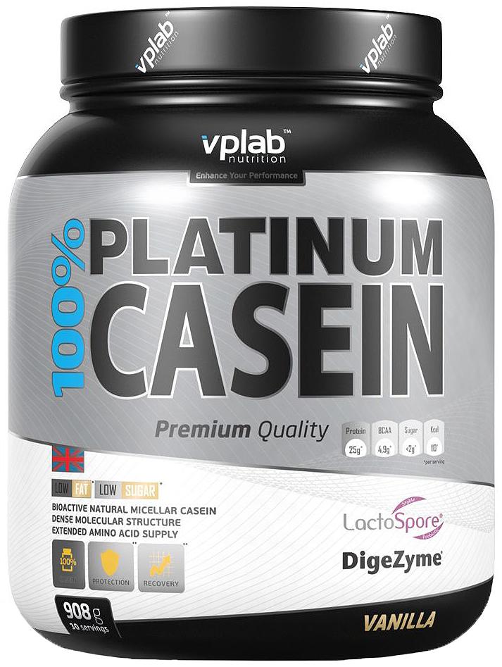 Протеин Vplab 100% Platinum Casein, ваниль, 908 г5070559Мицеллярный казеин, входящий в средство Vplab 100% Platinum Casein является самой медленной формой протеина. Производится щадящими способами микро- и ультрафильтрации без применения кислот и нагревания, сохраняя натуральную структуру белка. Попадая в пищеварительный тракт, образует мицеллы, ограничивая площадь доступа пищеварительных ферментов. Следственно, увеличивается продолжительность переваривания и сохраняется постоянное поступление аминокислот в кровь.Рекомендации по применению: 1 порция = 30 г порошка (1 мерная ложка с горкой) в 250 мл воды. 1 порция в день. Предпочтительно перед сном.Состав: мицелярный казеин, ароматизатор, гуаровая камедь, подсластители (сукралоза, ацесульфам К). Lactospore (Bacillus coagulans), DigeZyme (амилаза, протеаза, липаза, целлюлаза, лактаза).Питательная ценность: энергетическая ценность 110.0 ккал, белки 24,5 г (из них BCAA 4,9 г), углеводы 2,3 г, сахар 1.7 г, жиры 0,3 г, насыщенные жирные кислоты 0,2 г, пищевые волокна 0,4 г, соль 0,07 г, Lactospore (Bacillus coagulans) 30 мг, DigeZyme (амилаза, протеаза, липаза, целлюлоза, лактаза) - 15 мг.Товар сертифицирован.Как повысить эффективность тренировок с помощью спортивного питания? Статья OZON Гид