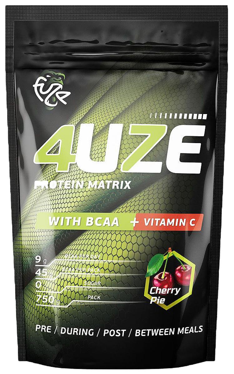 Протеин PureProtein Fuze + BCAA, вишневый пирог, 750 г3610284Мультикомпонентный протеин Фьюз+ВСАА (Multicomponent protein Fuze + ВСАА) в качестве источника протеинов использует смесь животных белков (яичный белок, белок молочной сыворотки, казеин, пшеничный белок, изолят соевого белка), отдельные аминокислоты (L-лейцин, L-изолейцин, L-валин), а также углеводы (фруктоза, глюкоза).Ингредиенты: концентрат сывороточного белка - 37,6%, концентрат молочного белка - 18,9%, сухой яичный белок - 18,9%, изолят соевого белка - 19,1 %, пшеничный белок - 5,5%, фруктоза, декстроза, соевый лецитин, мальтодекстрин, витамин С, L-лейцин, L-изолейцин, L-валин, ароматизатор, аспасвит (не содержит финилалалин), ксантановая камедь, пищевой краситель Кармин (только для вкуса Вишневый пирог).Товар сертифицирован.Как повысить эффективность тренировок с помощью спортивного питания? Статья OZON Гид