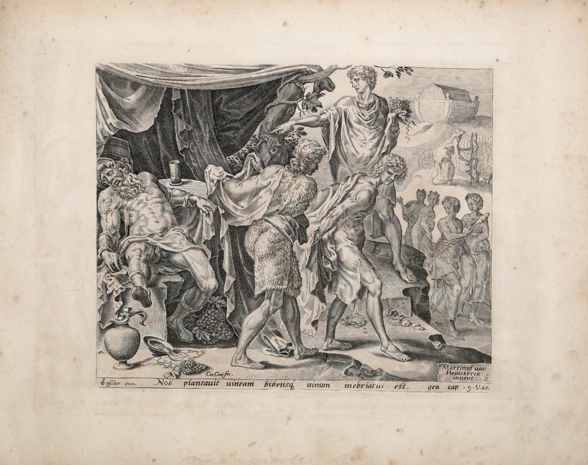 Ной и сыновья его. Иллюстрация из Библии Пискатора. Офорт, резец. Нидерланды, середина XVII века