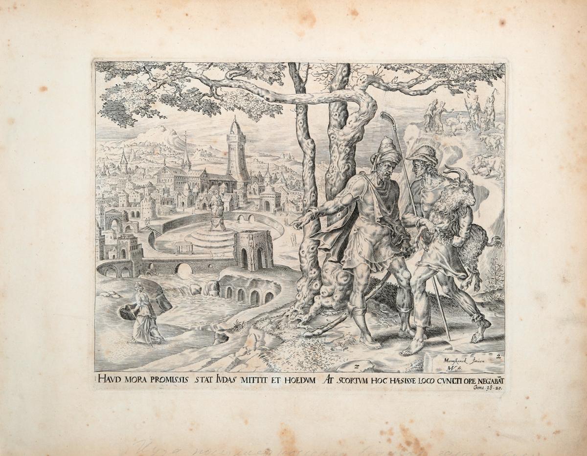 Иуда посылает козленка в качестве залога. Иллюстрация из Библии Пискатора. Офорт, резец. Нидерланды, середина XVII века