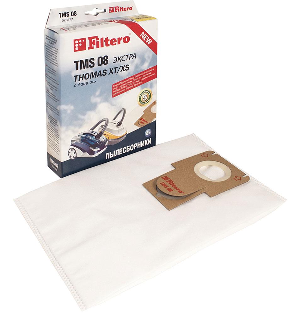 Filtero TMS 08 Экстра комплект пылесборников для Thomas XT/XS, 3 штTMS 08 (3)Мешки-пылесборники Filtero TMS 08 Экстра произведены из синтетического микроволокна MicroFib. Очень прочные, они не боятся острых предметов и влаги, собирают больше пыли (до 50%) и обеспечивают уровень очистки воздуха 99,9%, что значительно выше, чем у бумажных пылесборников. При этом мощность всасывания пылесоса сохраняется в течение всего периода службы пылесборника.Сменные мешки-пылесборники Filtero TMS 08 можно использовать совместно с держателем Filtero из стартового набора Filtero TMS 18 или c оригинальным держателем Thomas.Подходят для следующих моделей пылесосов:THOMAS:Allergy & FamilyAqua-box CompactCat & Dog XTLorelea XTMistral XSMokko XTMulti clean X10 ParquetParkett Master XTParkett Prestige XTParkett Style XTPerfect Air Allergy PurePerfect Air Animal PurePerfect Air Feel FreshPet & FamilySky XTTwin XTVestfalia XTWave XT