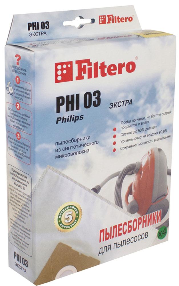 Filtero PHI 03 Экстра комплект пылесборников, 4 штPHI 03 (4) ЭКСТРАМешки-пылесборники Filtero PHI 03 Экстра произведены из синтетического микроволокна MicroFib. Оченьпрочные, они не боятся острых предметов и влаги, собирают больше пыли (до 50%) и обеспечивают уровеньочистки воздуха 99,9%, что значительно выше, чем у бумажных пылесборников. При этом мощность всасыванияпылесоса сохраняется в течение всего периода службы пылесборника.Подходят для следующих моделей пылесосов:PHILIPS: FC 8334 FC 8344 FC 8347 FC 8348 HR 6325 - HR 6339AKIRA: VC-R 1403 VC-R 1404 VC-R 1405ARIETE: 2715 Eternity 2725 AspiradorBINATONE: DVC 7180BORK: VC 6514 GR, SICLATRONIC: BS 900 BS 1232 BS 1233 BS 1235 BS 1243 BS 1245DE LONGHI: XTC 180 E Kosmos XTC 200 E KosmosDIRT DEVIL: M 3050 Classic M 3055 Classic M 7000 Allerga M 7100 EQU M 8028 R1 Antiinfective M 8030 R9 Antiinfective M 8230 R3 AntiinfectiveELENBERG: VC 2036FUNAI: FN 5083GOLDSTAR: V-C 4515 R, V V-C 5620 V-C 5810GORENJE: VC 1621 DPR VC 1821 DPWR VC 1825 DPW VC 2021 DPBK VC 2027 RPO VC 2223 RPBK VC 2226 RPBHOTPOINT-ARISTON: SL B10 BCH SL B16 AAO SL B16 APR SL B18 AAO SL B20 AAO SL B22 AAO SL B24 AAOMARTA:MT 1336NILFISK: A 100 Action A 200 Action A 300 Action A 400 ActionPOLAR: VC 2003 CardinalROLSEN: T 2435 T 2442 TSF T 2585 THF T 3061 TSFSATURN: ST 1286 NestorSCARLETT: SC 082 Harold SC 284 Oscar SC 285 RobertVIGOR: HVC 1800