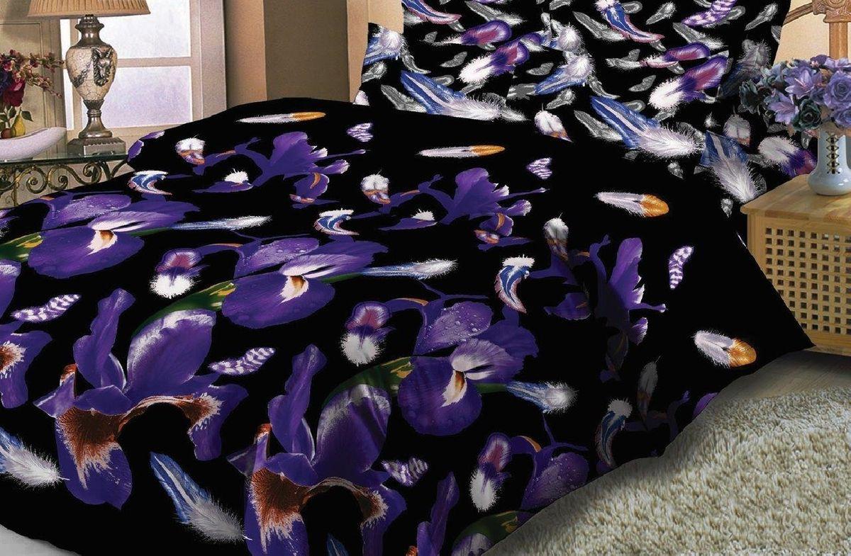 Комплект белья Liya Home Collection Соблазн, евро, наволочки 70x70, цвет: фиолетовый, черный1515150000348Комплект белья Liya Home Collection Соблазн состоит из пододеяльника, простыни и двух наволочек. Изделия выполнены из сатина (100% хлопок).Сатин - производится из высших сортов хлопка, а своим блеском и легкостью напоминает шелк. Постельное белье из сатина превращает жаркие летние ночи в прохладные и освежающие, а холодные зимние - в теплые и согревающие.