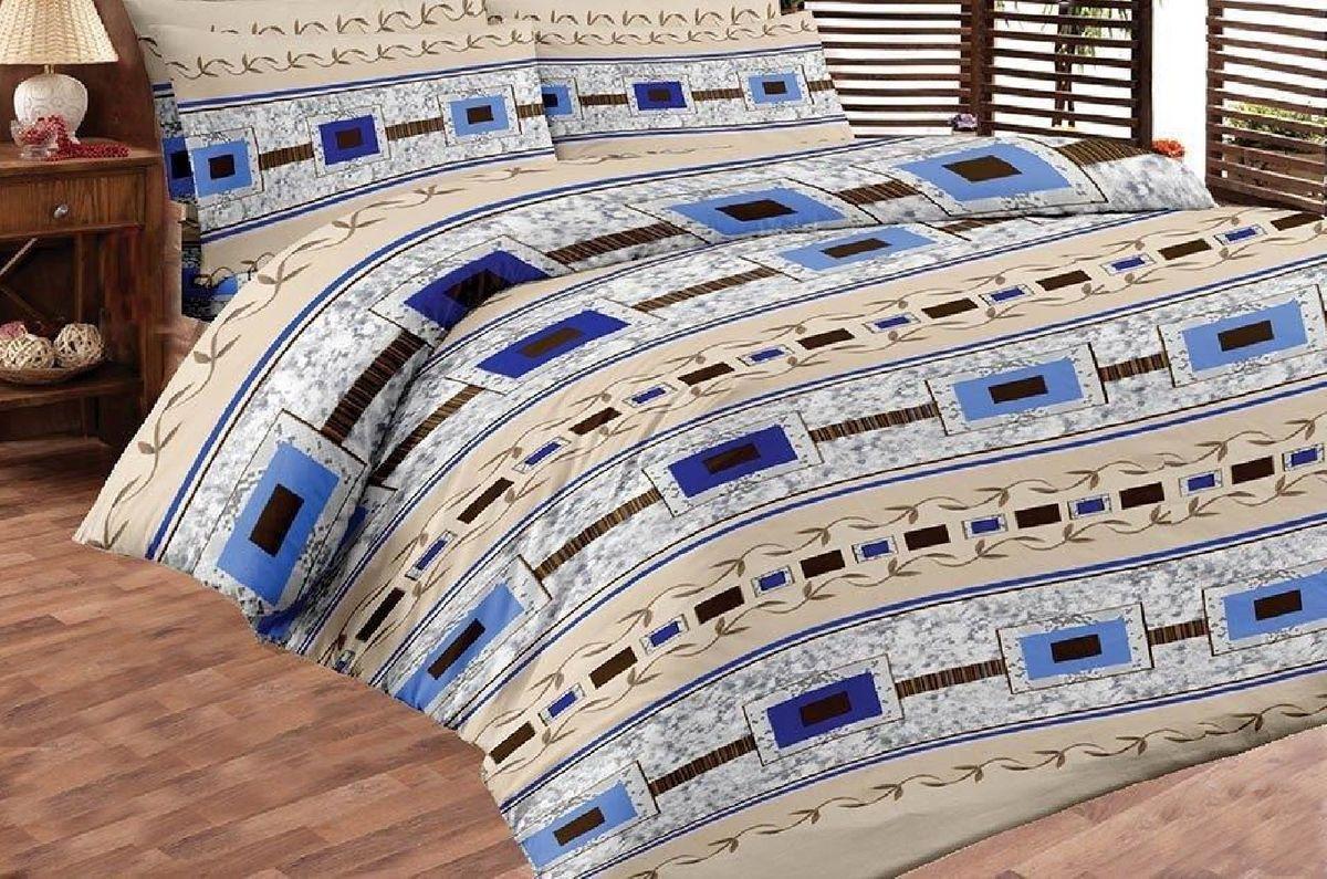 Комплект белья Liya Home Collection Модерн, 2-спальный с евро простыней, наволочки 70x70, цвет: синий, бежевый0000120001897Комплект белья Liya Home Collection Модерн состоит из пододеяльника, простыни и двух наволочек. Изделия выполнены из хлопка (70%) и полиэстера (30%). Хлопок является классическим примером гигроскопичности, гигиеничности, натуральности и простоты. Сочетание его с полиэстером лишает ткань присущих хлопку недостатков. Изделия из хлопка с полиэстером не выгорают, не растягиваются, дольше используются. Постельное белье из хлопка с полиэстером имеет двукратную продолжительность эксплуатации, по сравнению с чистым хлопком, оно не мнется и сохнет очень быстро.