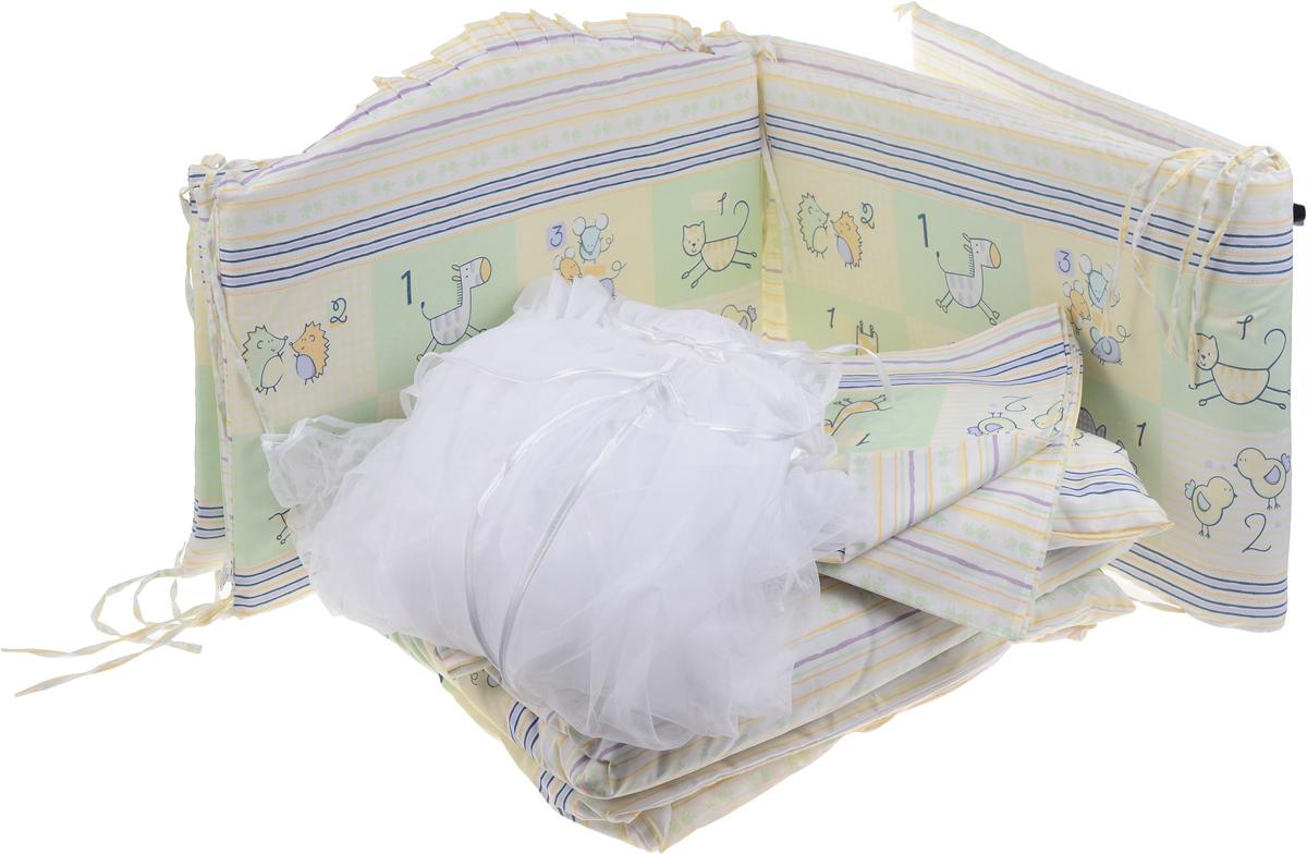 Сонный Гномик Комплект в кроватку Считалочка цвет салатовый 7 предметов борт в кроватку сонный гномик считалочка бежевый бсс 0358105 4