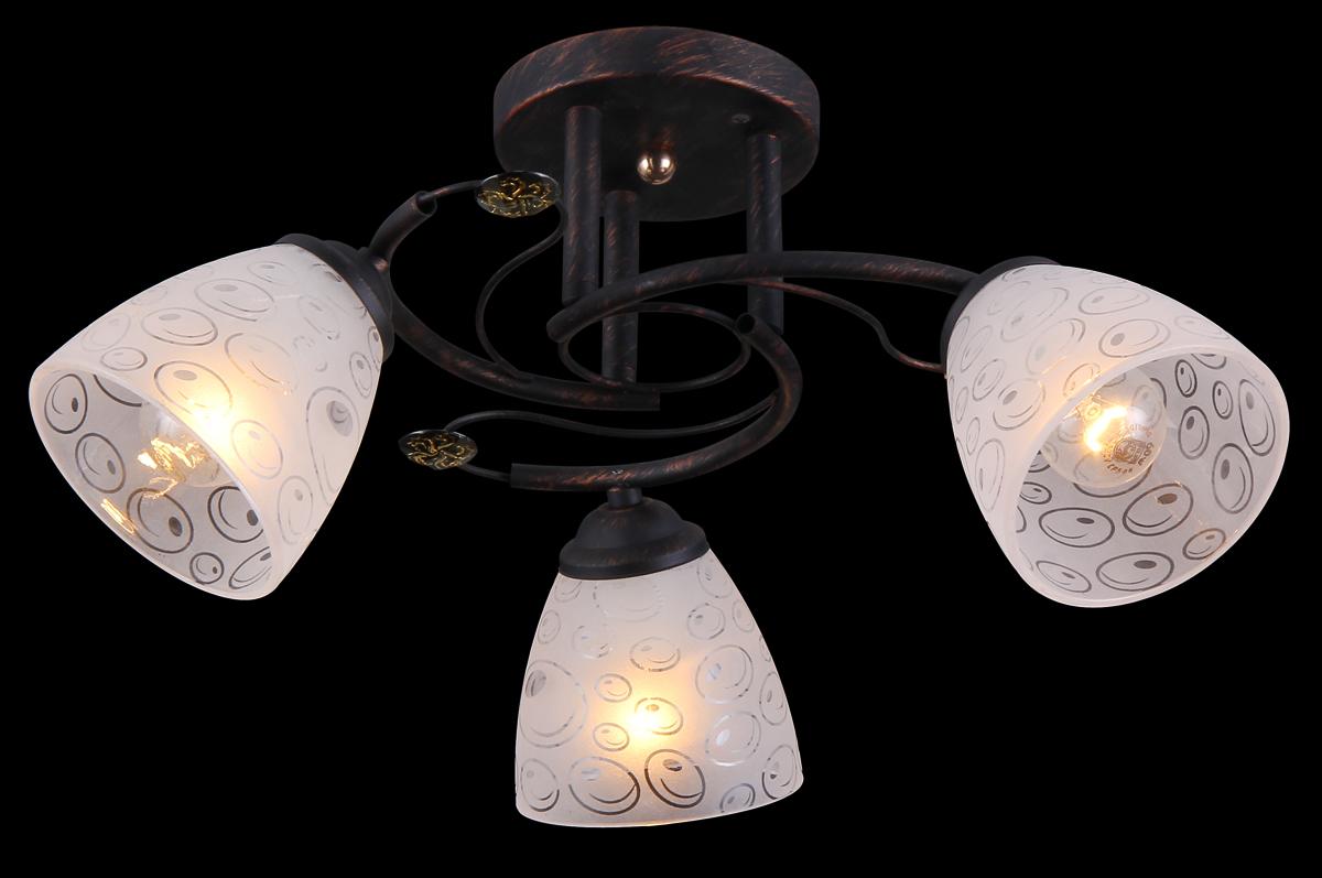 Люстра Natali Kovaltseva, 3 x E14, 40W. 11451/3C11451/3C TOONЛюстра Natali Kovaltseva, выполненная в классическом дизайне, станет украшением вашей комнаты и изысканно дополнит интерьер. Изделие крепится к потолку. Такая люстра отлично подойдет для освещения кабинета, столовой, спальни или гостиной. Люстра выполнена из металла и оснащена 3 плафонами из матового стекла, декорированными оригинальным рельефом.