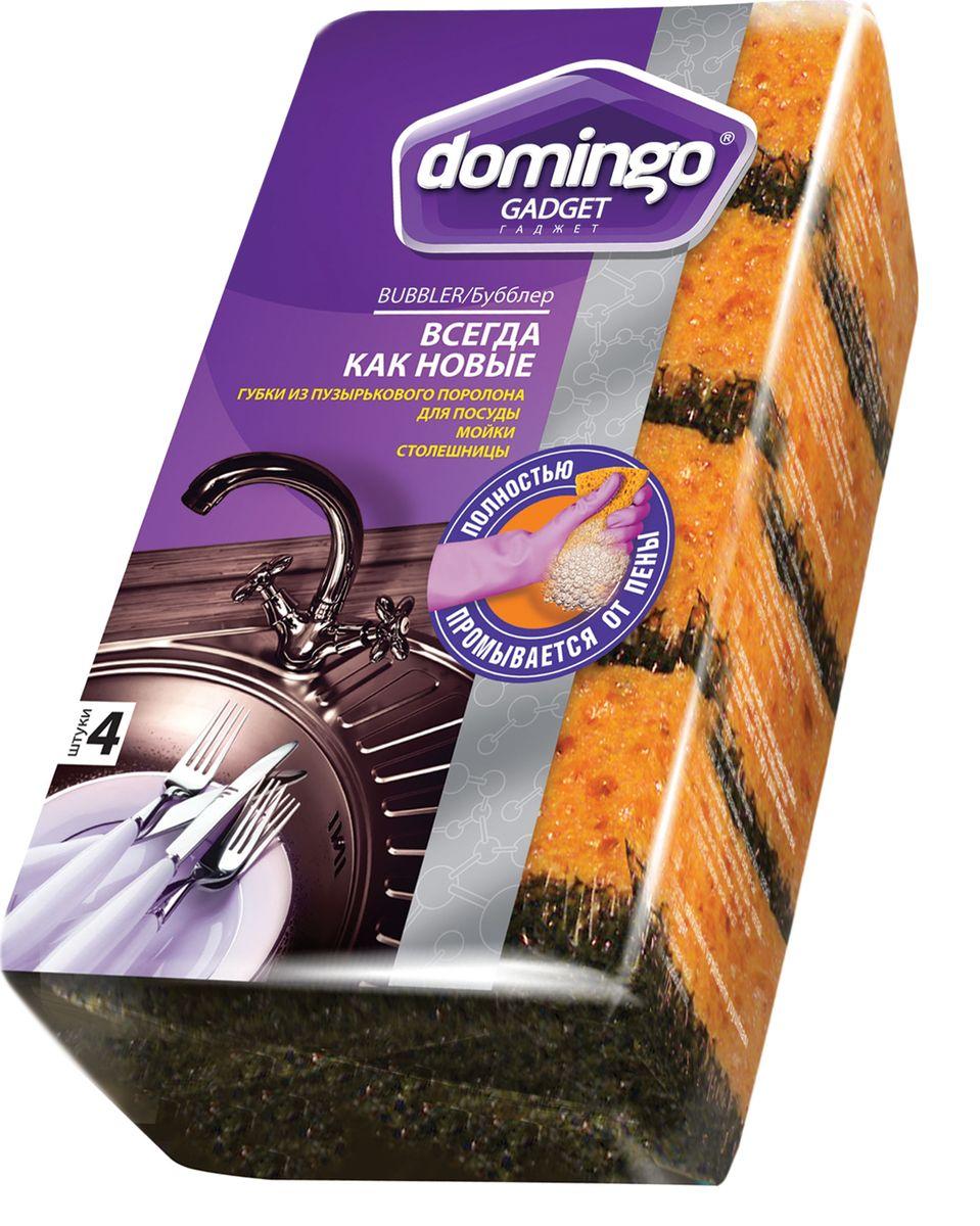 Губка для мытья посуды Доминго Бубблер, 9,6 х 6,4 см, 4 штП0411Губка Доминго предназначена для мытья посуды, очистки раковин, плит и других поверхностей на кухне. Мягкий слой деликатно очищает, а абразивный слой позволяет справиться даже с трудновыводимыми загрязнениями. Специальный «бисквитный» поролон полностью промывается от пены, жира и остатков пищи, не оставляет мыльных разводов и мокрых следов. Размер губки: 9,6 х 6,4 см.Количество в упаковке: 4 шт.