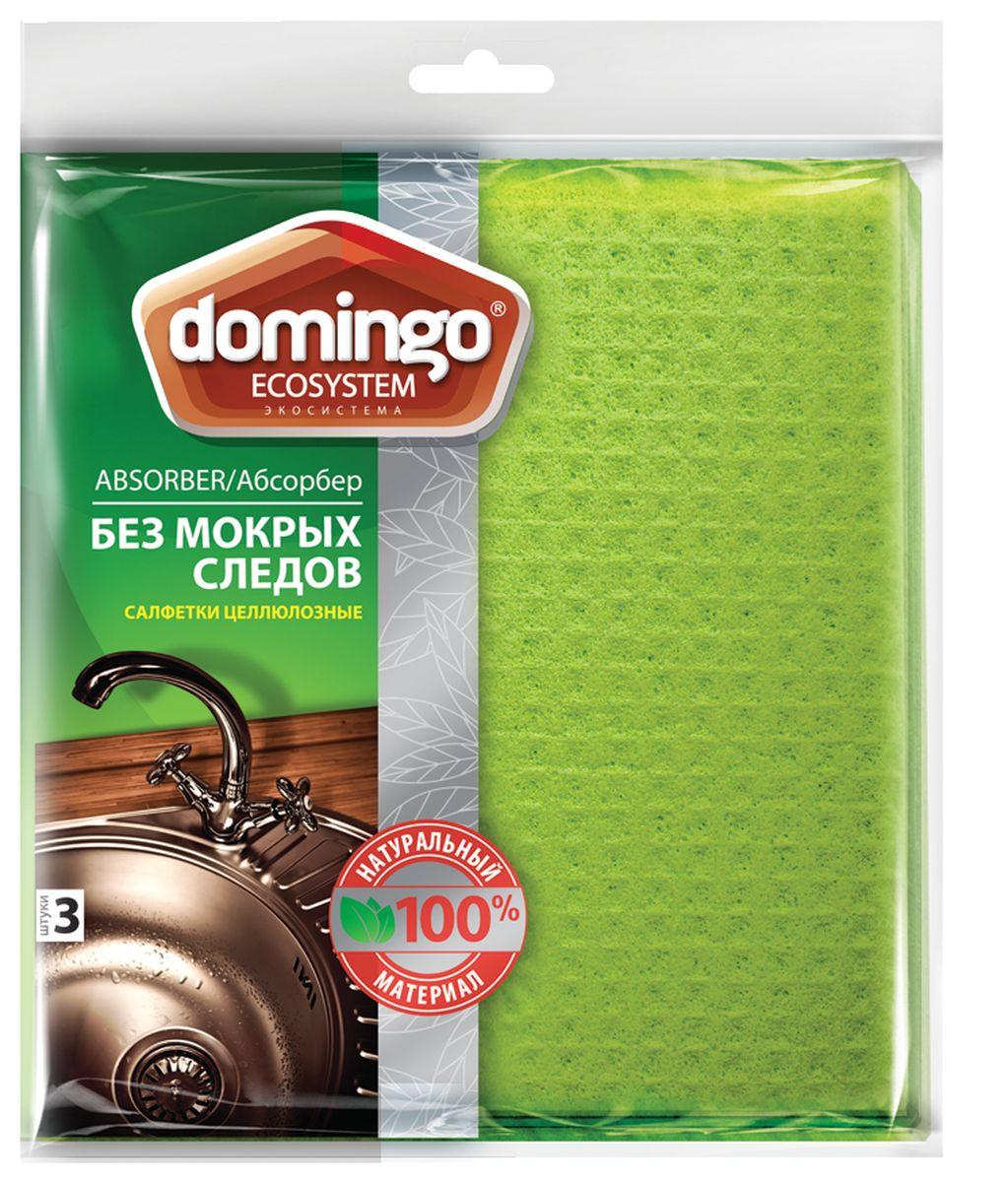 Салфетка для уборки Доминго Абсорбер, целлюлозная, 18 х 20 см, 3 штС0102Салфетка для уборки Доминго Абсорбер подходит для ежедневной уборки кухонных поверхностей. Лучший способ вытирать поверхности насухо: даже влажная отжатая салфетка не оставляет влаги на поверхности. Идеальны для уборки пыли: пыль отлично прилипает и легко споласкивается.
