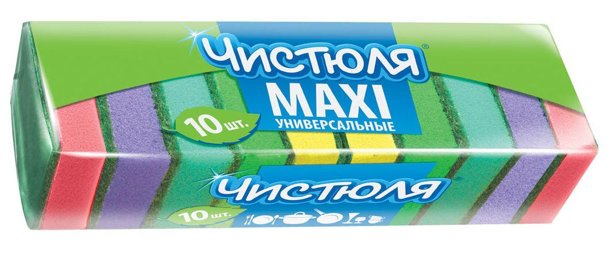 Губка для мытья посуды Чистюля Maxi, с абразивным слоем, 64 х 96 х 27 мм, 10 штП0305Губка для мытья посуды Чистюля Maxi имеет удобный размер, качественный жесткий абразив. Губка сохраняет хорошую форму в течение всего срока службы.