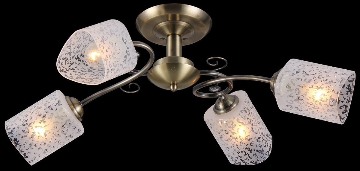 Люстра Natali Kovaltseva, 4 x E14, 40W. 11484/4C11484/4C ANTIQUEЛюстра Natali Kovaltseva, выполненная в классическом дизайне, станет украшением вашей комнаты и изысканно дополнит интерьер. Изделие крепится к потолку. Такая люстра отлично подойдет для освещения кабинета, столовой, спальни или гостиной. Люстра выполнена из металла и оснащена 4 плафонами из матового стекла, декорированными оригинальным рельефом.