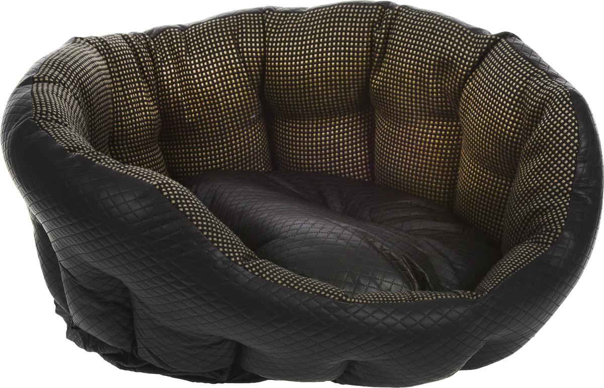 Лежак для животных Роскошь, 68 x 59 x 25 см8947-1476Лежак для животных Роскошь прекрасно подойдет для отдыха вашего домашнего питомца. Предназначен для собак средних пород. Изделие выполнено из прочной льняной ткани, декорированной изысканным принтом в виде мелких квадратов, и снабжено высокими бортиками. Внешняя часть лежака отделана перфорированной кожей. Внутри - наполнитель из полиэстерового волокна, который обеспечивает мягкость и упругость изделия. Бортики простеганы, что позволяет им держать форму. Лежак снабжен съемной подушкой. Основание изделия противоскользящее и водостойкое. Комфортный и уютный лежак обязательно понравится вашей собаке, животное сможет там отдохнуть и выспаться. Размер подушки: 52 х 47 х 14 см.