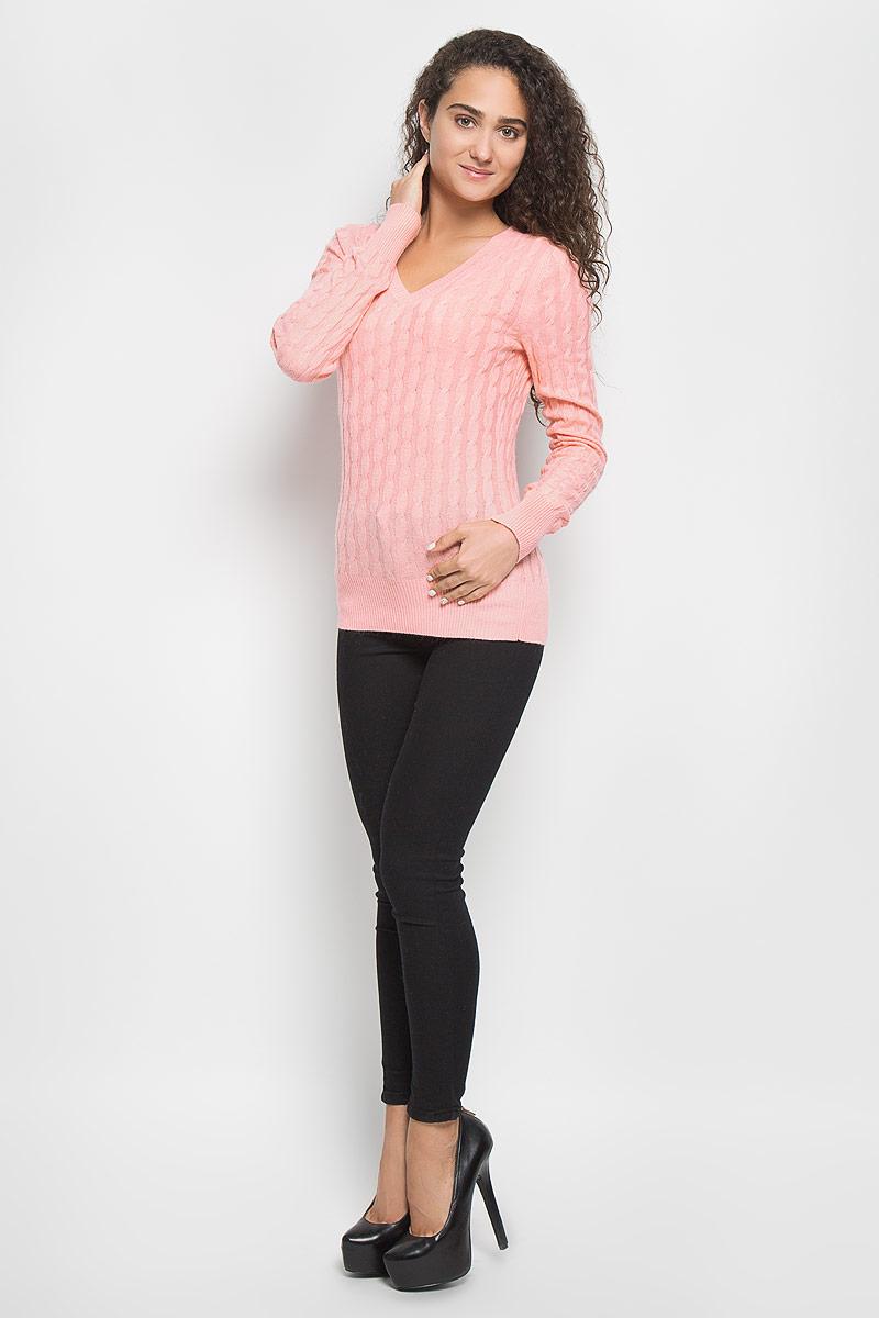 Джемпер женский Baon, цвет: персиково-розовый. B136708. Размер XL (50)B136708_Dawn PinkМодный женский джемпер Baon, изготовленный из вискозы и полиамида с добавлением ангоры, мягкий и приятный на ощупь, не сковывает движений и обеспечивает комфорт. Модель с V-образным вырезом горловины и длинными рукавами великолепно подойдет для создания современного образа в стиле Casual. Горловина, манжеты рукавов и низ джемпера связаны резинкой. Изделие оформлено оригинальным узором.Этот джемпер послужит отличным дополнением к вашему гардеробу. В нем вы всегда будете чувствовать себя уютно и комфортно в прохладную погоду.