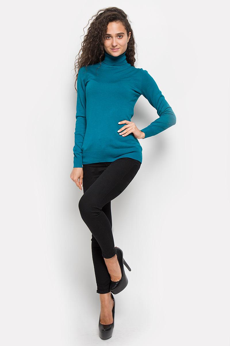 Водолазка женская Baon, цвет: темно-бирюзовый. B136702. Размер M (46)B136702_Dark LagunaОригинальная женская водолазка Baon, изготовленная из высококачественной пряжи, мягкая и приятная на ощупь, не сковывает движений и обеспечивает наибольший комфорт.Модель с воротником-гольф и длинными рукавами великолепно подойдет для создания образа в стиле Casual. Однотонная водолазка отлично сочетается с любыми нарядами.Эта водолазка послужит отличным дополнением к вашему гардеробу. В ней вы всегда будете чувствовать себя уютно и комфортно в прохладную погоду.