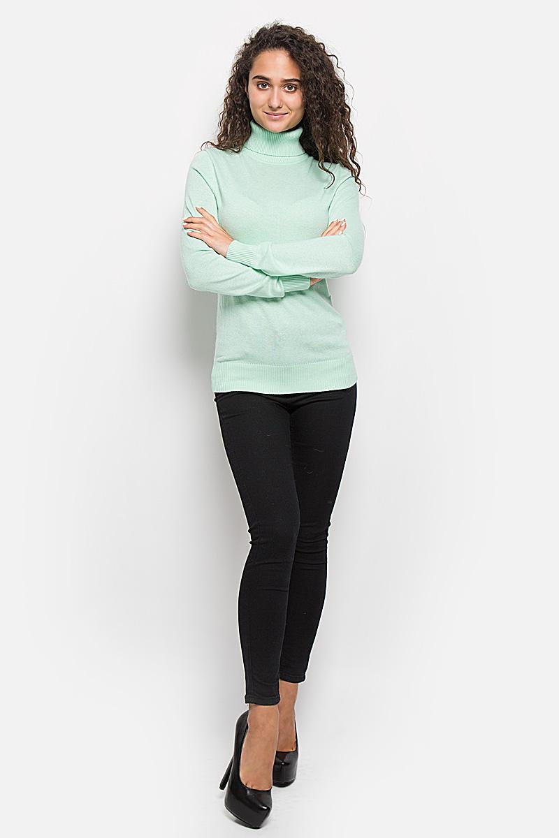 Водолазка женская Baon, цвет: светло-зеленый. B136704. Размер XL (50)B136704_Rime Grass MelangeОригинальная женская водолазка Baon, изготовленная из высококачественной пряжи, мягкая и приятная на ощупь, не сковывает движений и обеспечивает наибольший комфорт.Модель с воротником-гольф и длинными рукавами великолепно подойдет для создания образа в стиле Casual. Однотонная водолазка отлично сочетается с любыми нарядами. Низ изделия, манжеты и воротник связаны резинкой. Эта водолазка послужит отличным дополнением к вашему гардеробу. В ней вы всегда будете чувствовать себя уютно и комфортно в прохладную погоду.