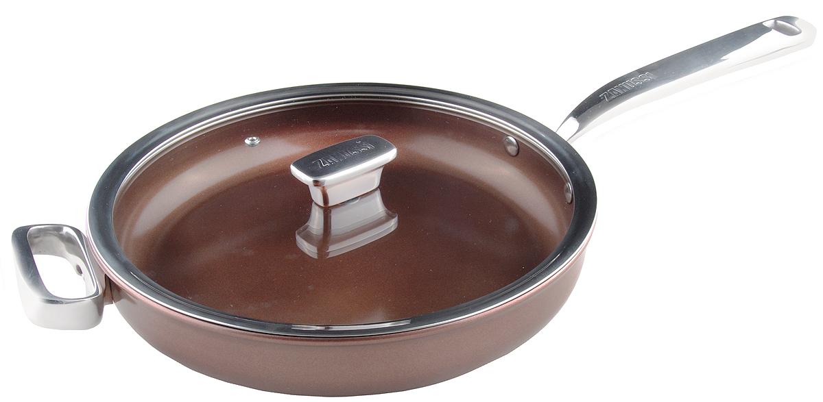 Сковорода Zanussi Siena, цвет: бронза, диаметр 28 см. ZCU51231CFZCU51231CFСковорода Siena выполнена с применением передовых технологий производства из высококлассных материалов, имеет многослойное дно. Внутреннее керамическое покрытие не содержит вредные кислоты PTFE и PFOA. Сковорода подходит для приготовления блюд в духовке при температуре до 260°C. Толщина дна: 4 мм.Толщина стенок: 4 мм.Ручки изготовлены из литой нержавеющей стали.Антипригарное покрытие - Greblon - двухслойное керамическое покрытие.