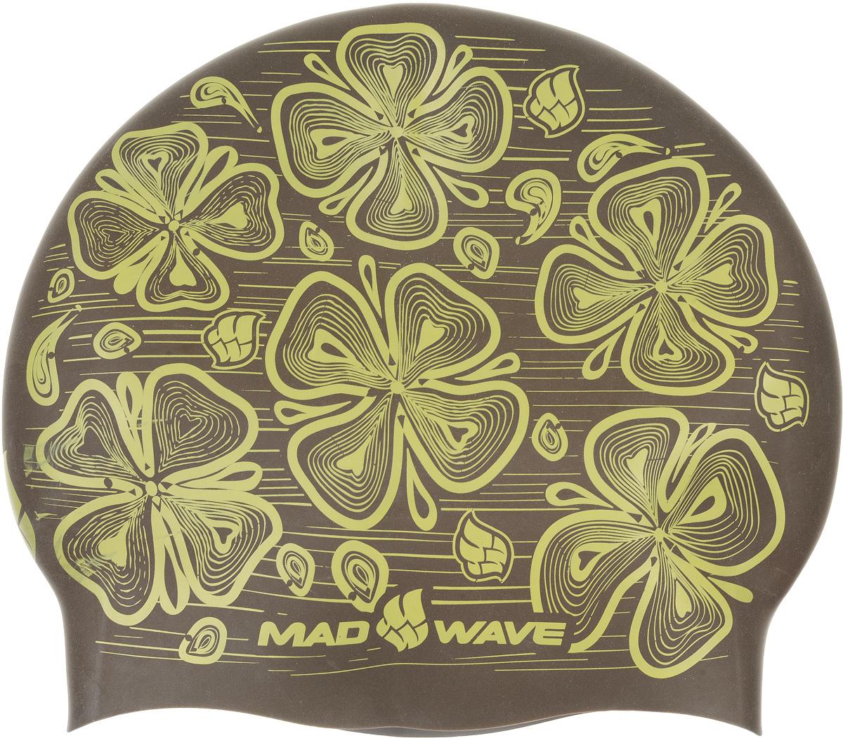 Шапочка для плавания MadWave Reverse Flora, силиконовая, двусторонняя, цвет: серый, коричневый сланцы madwave madwave ma991akffh77