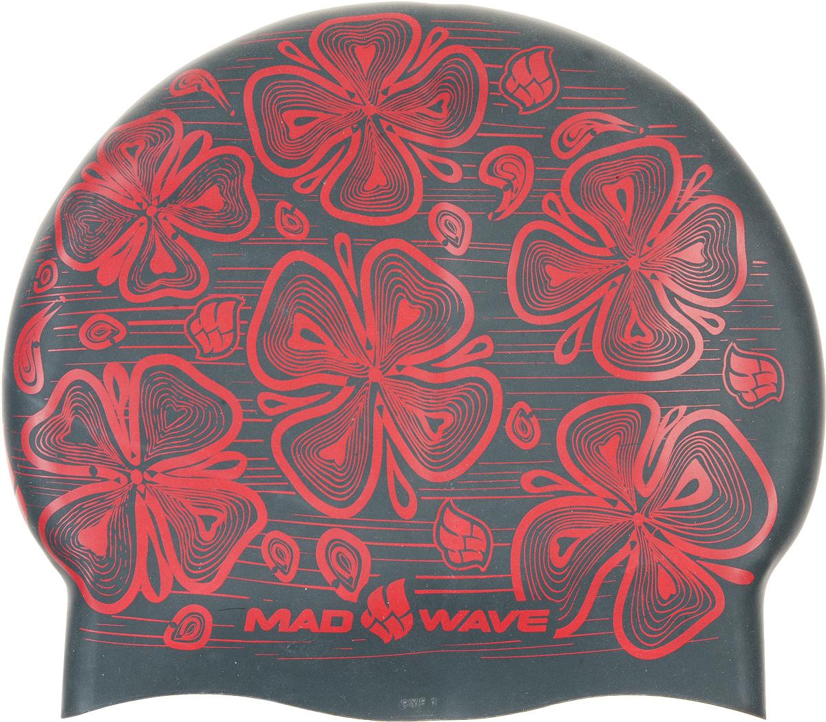 Шапочка для плавания MadWave Reverse Flora, силиконовая, двусторонняя, цвет: черный, серый шапочки для плавания mad wave силиконовая шапочка reverse flora