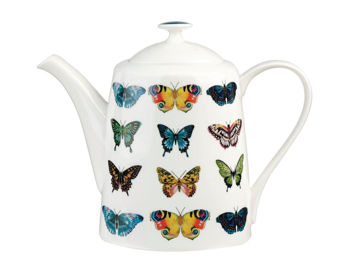 """Чайник заварочный Churchill """"Бабочки"""" выполнен из высококачественного костяного фарфора и украшен оригинальным изображением бабочек. Такой чайник отлично дополнит сервировку стола к чаепитию. Можно мыть в посудомоечной машине. Можно использовать в микроволновой печи."""