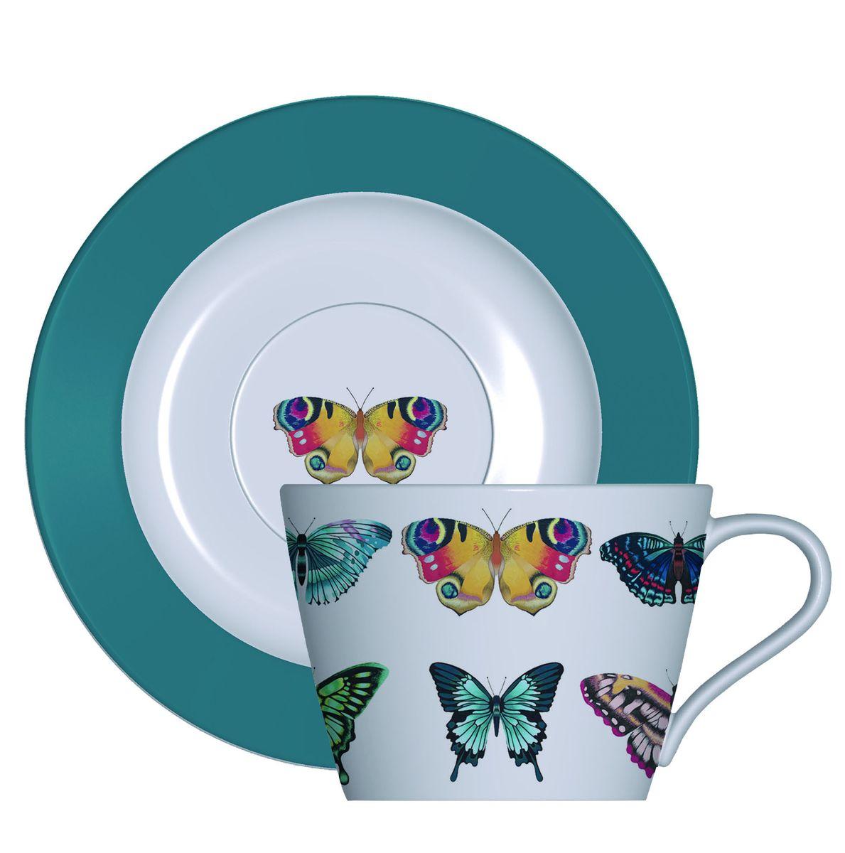 """Набор кофейный Churchill """"Бабочки"""" состоит из 2 кофейных чашек и 2 блюдец. Изделия выполнены из высококачественного костяного фарфора и оформлены красочным изображением бабочек.  Можно мыть в посудомоечной машине. Можно использовать в микроволновой печи."""