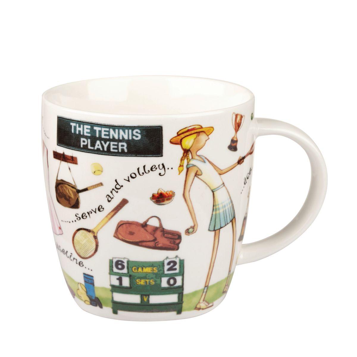 Кружка Churchill Теннисист, 400 млYOUR00211Кружка Churchill Теннисист изготовлена из высококачественного костяного фарфора. Внешние стенки дополнены оригинальным принтом. Такая кружка отлично подойдет для горячих и холодных напитков. С ней ваши любимые напитки будут еще вкусней.Коллекция На досуге призывает наслаждаться любимыми делами, например, заняться спортом. Коллекция отличается причудливыми веселыми рисунками и оригинальной подарочной упаковкой. Можно мыть в посудомоечной машине. Можно использовать в микроволновой печи.