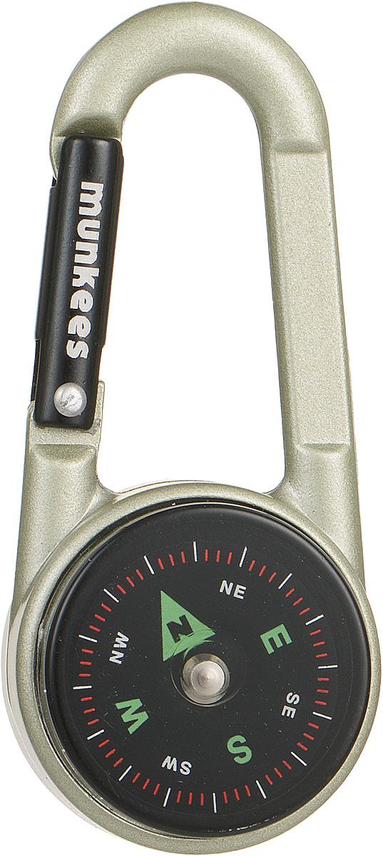 Карабин Munkees, с компасом и термометром3135Карабин Munkees, выполненный из прочного алюминия, предназначен не для скалолазания и альпинизма. Он рассчитан на существенно малые веса. Но он позволит упростить быт любого человека во всех случаях жизни. От элементарного подвешивания связки ключей на пояс, шлевку брюк/штанов, в рюкзак на место для крепления ключей или за любой кант кармана, до размещения подручных предметов, легкого снаряжения, одежды и аксессуаров (особенно перчаток и кепок) на рюкзак, сумку и тот же пояс. Так же в карабин вмонтирован компас для контроля направления движения и термометр для определения изменений температуры.