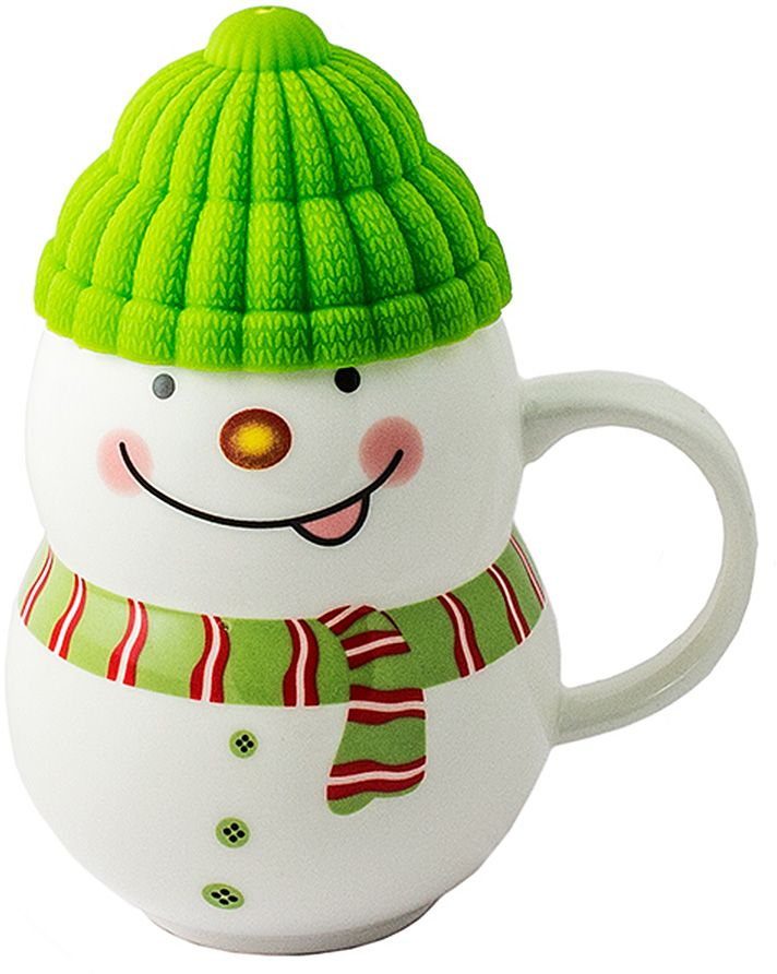 Порадовать близкого человека, растопить холод в отношениях, заставить его улыбнуться поможет кружка в виде симпатичного снеговичка, если наполнить её горячим напитком и преподнести любимому. Силиконовая шапочка выполняет роль крышки и предохраняет напиток от остывания. Милая нарисованная мордашка и цветной шарфик делают образ завершенным.