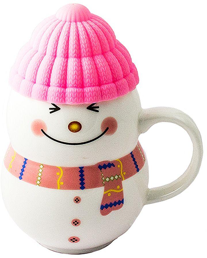 Кружка-снеговик Эврика Растопи лед, цвет: розовый96956Порадовать близкого человека, растопить холод в отношениях, заставить его улыбнуться поможет кружка в виде симпатичного снеговичка, если наполнить её горячим напитком и преподнести любимому. Силиконовая шапочка выполняет роль крышки и предохраняет напиток от остывания. Милая нарисованная мордашка и цветной шарфик делают образ завершенным.