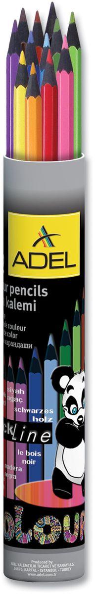Adel Набор цветных карандашей Blackline PBT 12 цветов211-2312-003Набор цветных карандашей Adel Blackline PBT - великолепный инструмент для творческой самореализации ребенка. Широкая цветовая палитра создает наилучшие условия для воплощения фантазии и вдохновения вашего маленького художника.Особая треугольная форма со скругленными гранями обеспечивает комфортное и уверенное использование и снижает усталость пальцев во время длительного занятия рисованием.Оправа из специального черного дерева облегчает затачивание карандаша, а качественный грифель диаметром 3 мм позволяет выбирать оптимальный уровень заточки в соответствии со своими потребностями и художественным стилем.Компактный алюминиевый тубус с плотно закрывающейся крышкой гарантирует удобство и аккуратность при хранении и транспортировке.